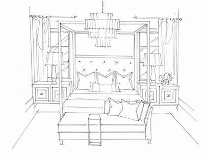 Bedroom Drawing Sketch Sketches Coloring Master Bed