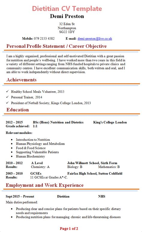 Sle Dietitian Resume Templates by Dietitian Cv Template 1