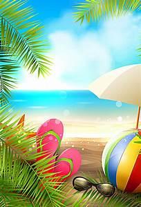 summer beach vector background, Great, Seaside, Coconut ...