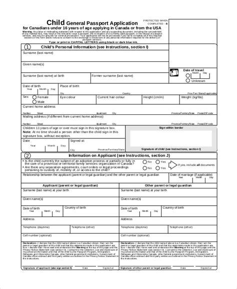 canada child passport renewal form 7 sle passport renewal forms sle templates