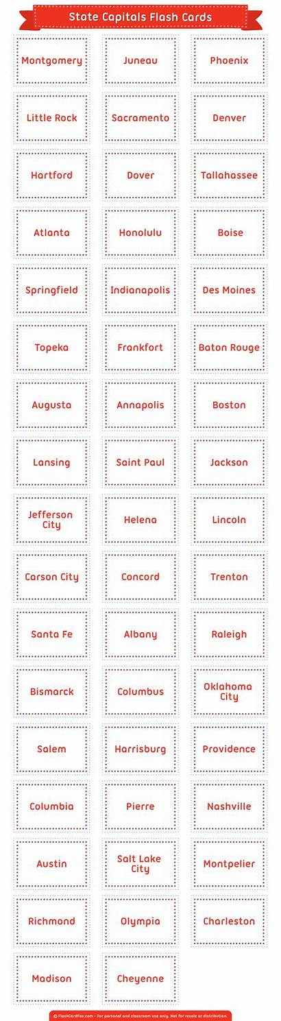 Capitals Flash Printable Cards States Graphic Postpic