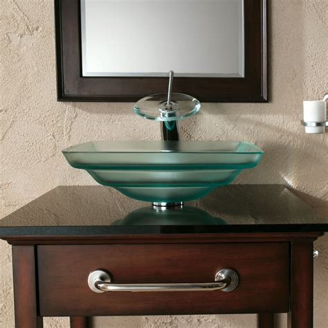 S07 Frosted Layered Square Tempered Glass Sink Bathroom
