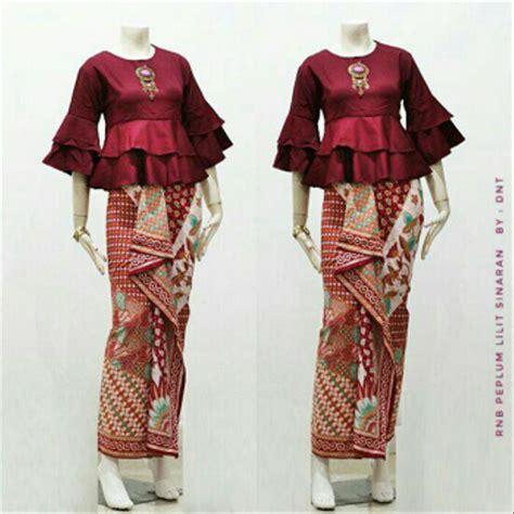 jual setelan baju kebaya wanita batik atasan peplum rok