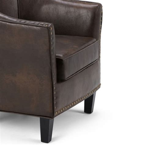 upholstered tub chairs kildare bonded leather upholstered tub chair simpli home