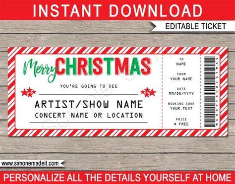 christmas concert ticket gift surprise concert show etsy