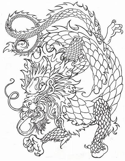 Chinese Dragon Line Coloring Drawing Pages Japanese