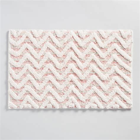 Coral Color Bathroom Rugs by Coral Chevron Tufted Bath Mat World Market