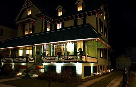 victorian house  night stock photo image  attractive