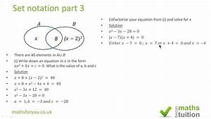 Set Notation Igcse  Gcse  As Level Part 3