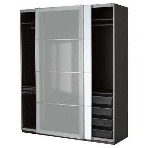 armoire penderie chambre pax wardrobe black brown auli sekken 200x66x236 cm ikea