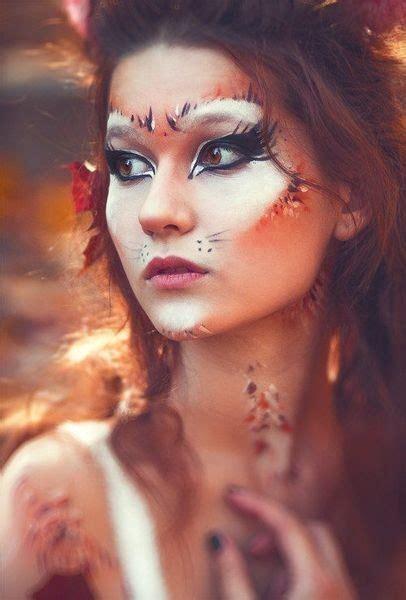feathered fox amazing animal makeup    easily rock  halloween livingly