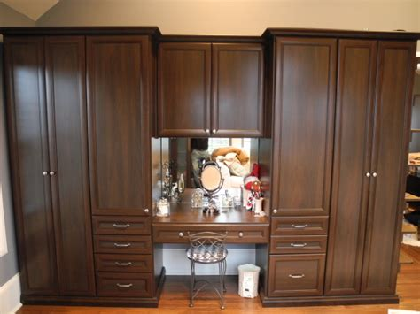 built in vanity and dressign area traditional closet
