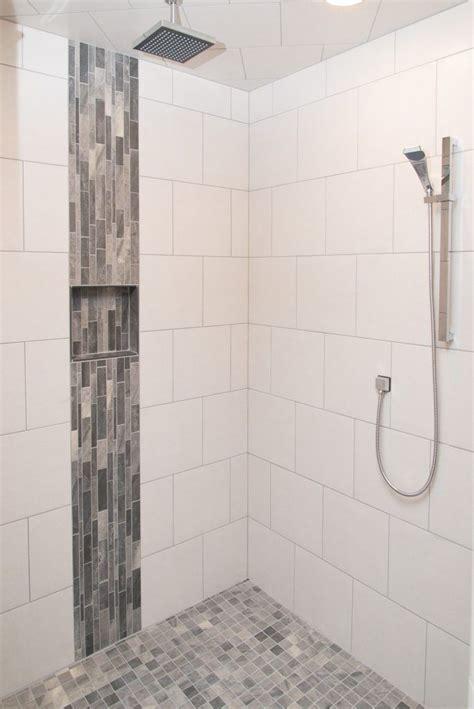 white tiled shower warm grey tiled accent tiled showers