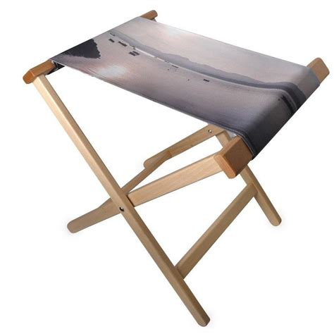 custom folding stool chair with a printed canvas seat