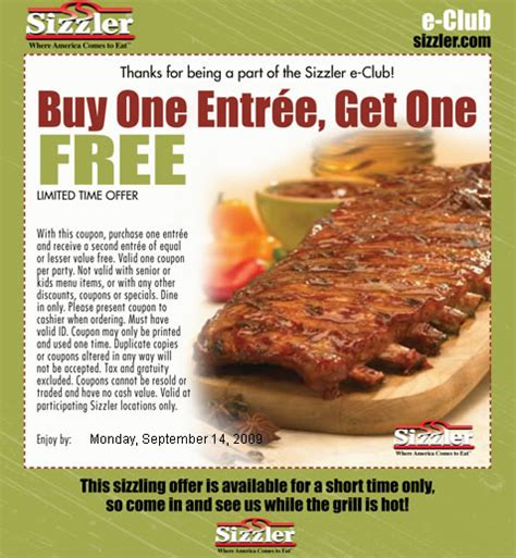 Image Gallery Sizzler Coupons 2013