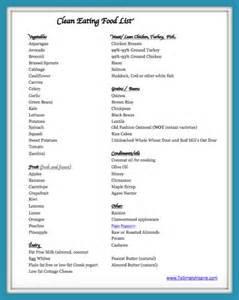 Eating Clean Food List Printable