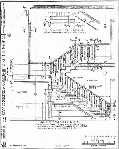 Stair Stairs Drawing Concrete Section Plan Reinforced