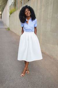 Cute Pin stripe shirt and white pleated midi skirt ...