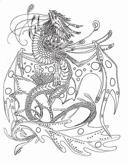Dragon Water Coloring Lineart Deviantart Pages Snake