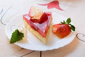 Slice of strawberry shortcake   Stock Photo   Colourbox
