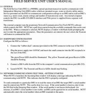 Itron 922 Field Service Unit  Transceiver  User Manual
