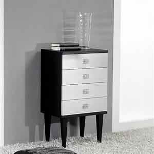 Commode Noir Et Bois : commode de design en bois noir agent 4 tiroirs fait la main etty ~ Teatrodelosmanantiales.com Idées de Décoration