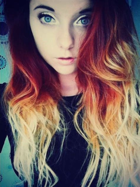Red Orange Ombré Hair Dip Dye Hair Pinterest Dip Dye