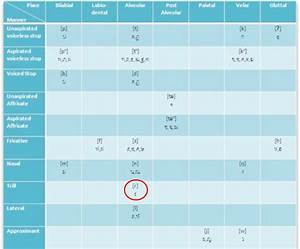 Consonant Chart With Ipa Symbols  Places And Manners Of