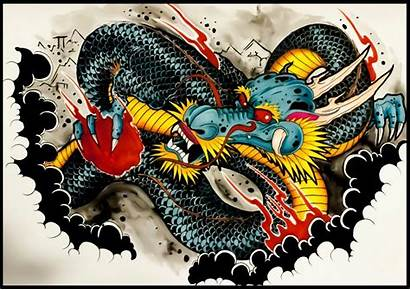 Tattoo Dragon Chinese Japanese Drawing Traditional Wallpapers
