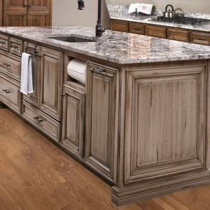 custom island custom cabinetry gray grey distressed