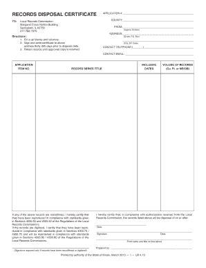 disposal certificate fill  printable fillable