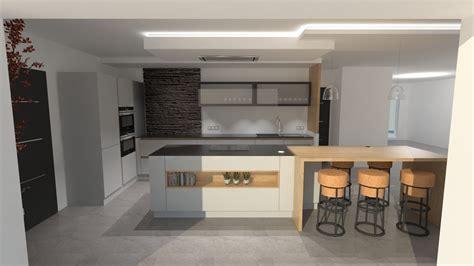cuisine bois design cuisine design gris clair et bois avec grand îlot et