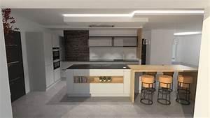 cuisine design gris clair et bois avec grand ilot et With cuisine gris et bois