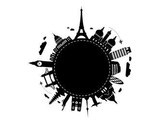 vinilos Vuelta al mundo Diseño Tatuaje viajes Ciudad