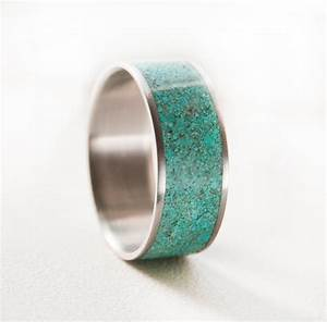 Mens wedding band turquoise ring by stagheaddesigns on etsy for Mens turquoise wedding rings
