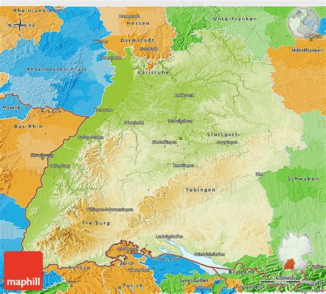 You are free to use the above map for educational purposes (fair use); Physical 3D Map of Baden-Württemberg, political outside