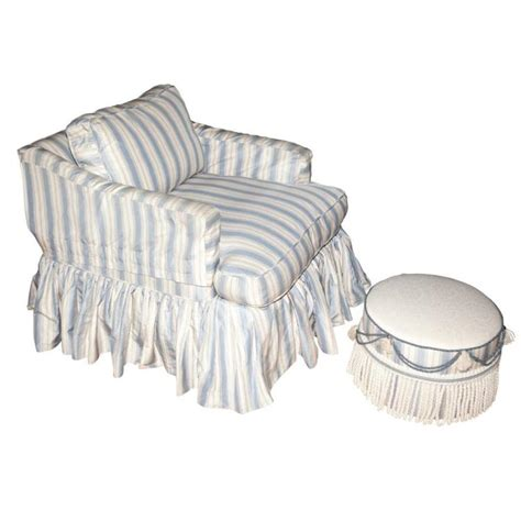 blue and white striped upholstered club chair ottoman and