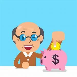 Cartoon Senior Man Saving Money In Piggy Bank Stock Vector ...