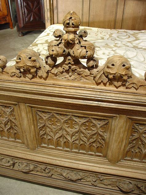 magnificent fully carved antique french gothic bed