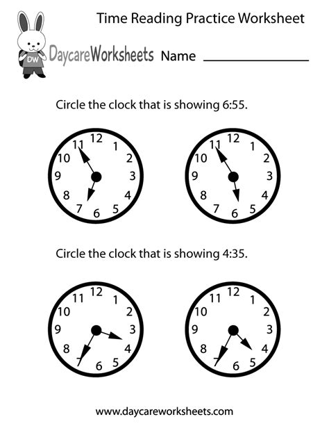 preschool time reading practice worksheet