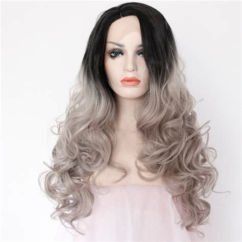Two Tones Ombre Lace Front Wig With Black To Gray Gradient