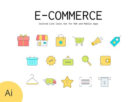 colored  icons set  commerce shopping  osama