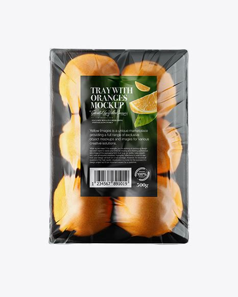 Bottle mockups make the process of presenting and packaging your designs in high quality photorealistic manner possible. Tray with Oranges with Frosted Film Mockup - Black Plastic ...