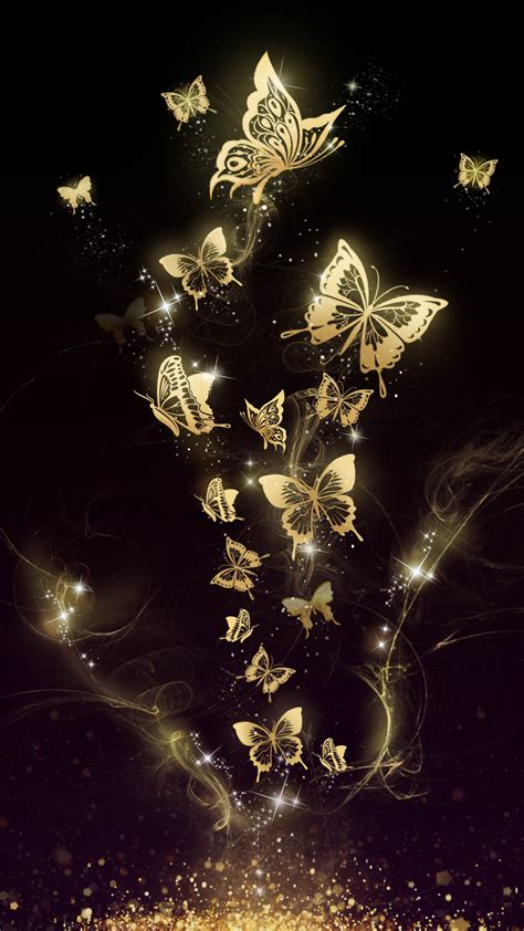beautiful golden butterfly  wallpaper android