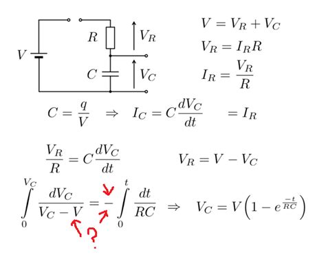 voltage  capacitor equation derivation pls