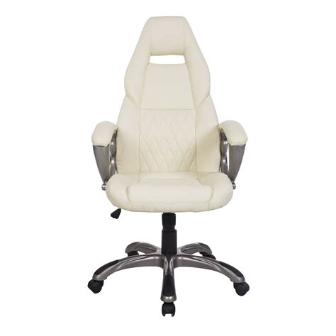 homcom race car style pu leather office chair white