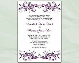 lilac wedding invitation template diy purple silver gray With e wedding invitation cards editable