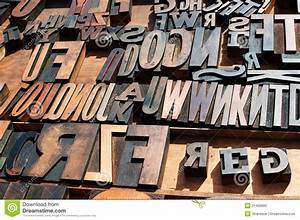 wooden block printing press letters stock photo image With old printing press letters