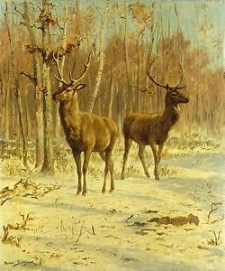 Two Stags In A Clearing In Winter Painting by Rosa Bonheur