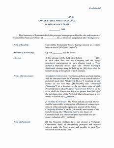 convertible note financing term sheet With convertible note term sheet template